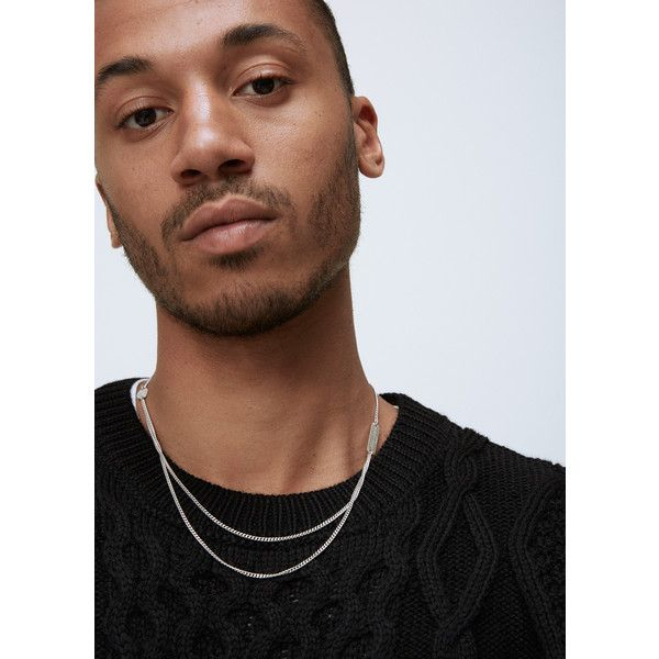 Maison Margiela Double Chain Necklace 375 Liked On Polyvore Featuring Men S Fashion Double Chain Necklace Mens Chain Necklace Mens Silver Chain Necklace
