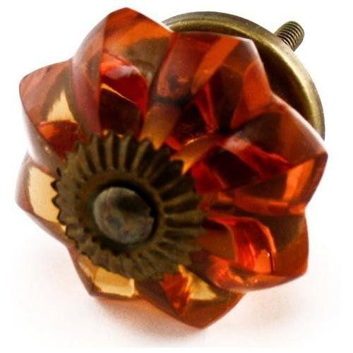 Large Amber Melon Glass Cabinet Knobs 10pc K29 Drawer Pull, Dresser Handle, Furniture & Kitchen Knob
