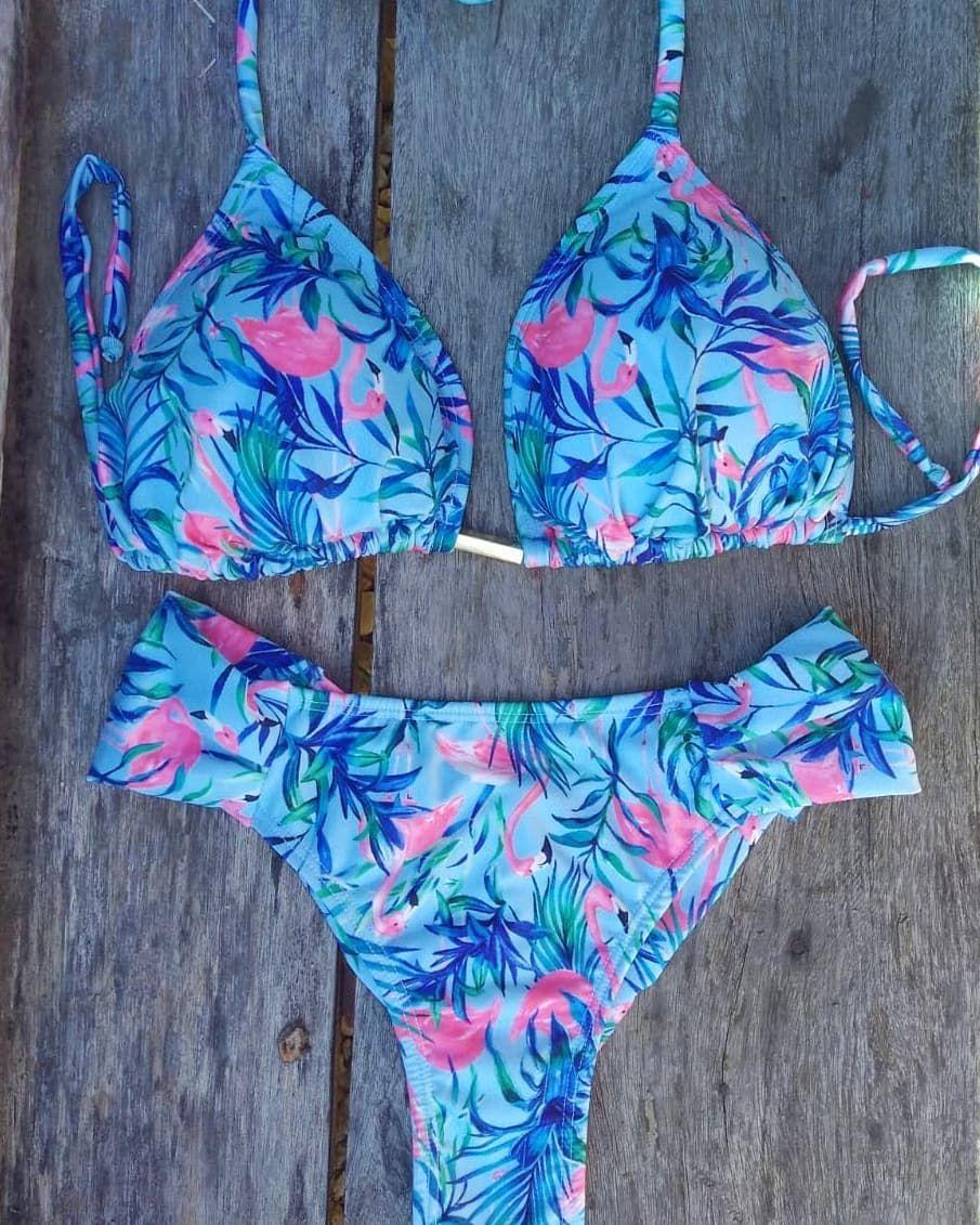 c4b63dee311f Conjunto de biquíni com estampa de flamingos #bikini #flamingo #summer  #flatlay