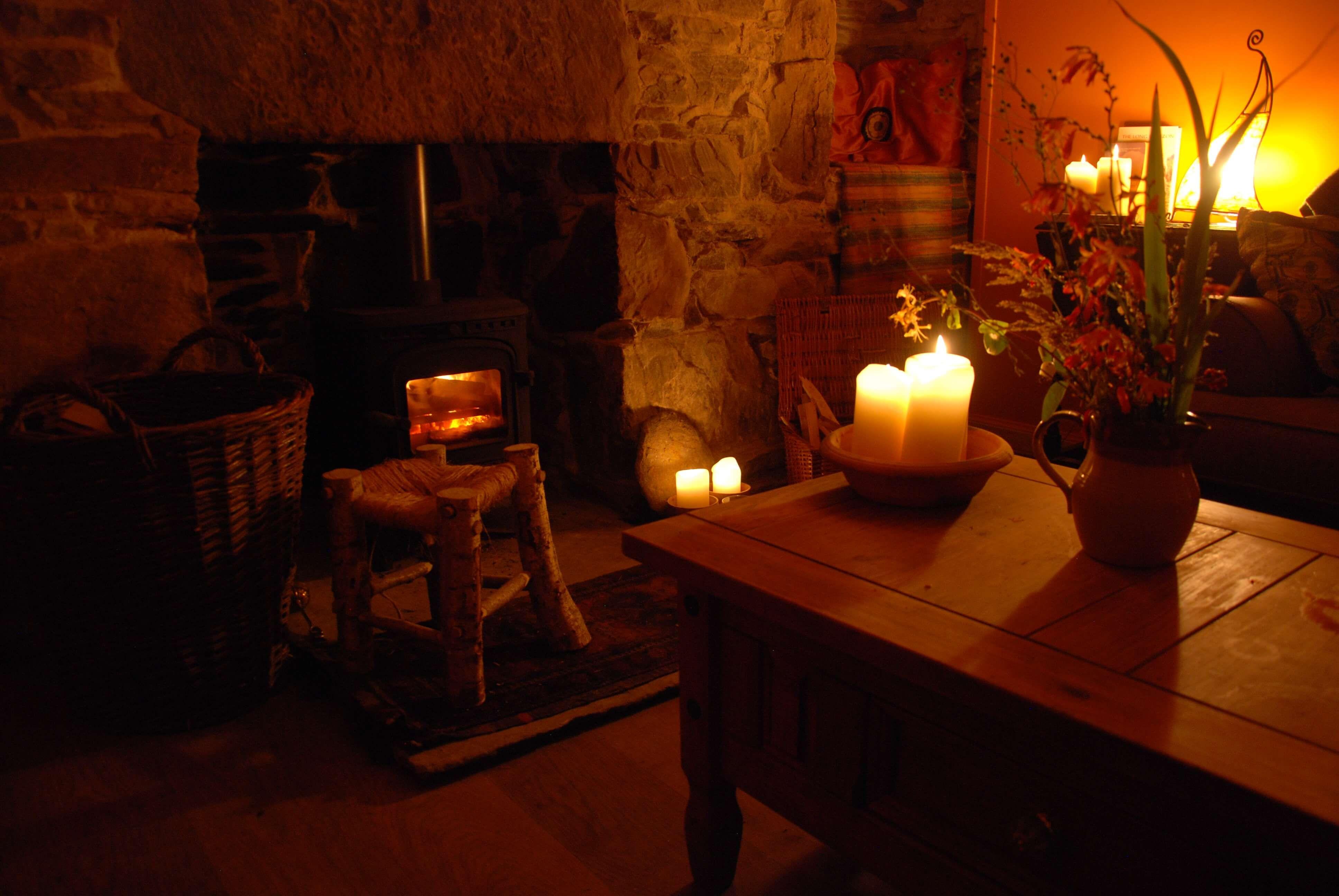 lounge room with logburner