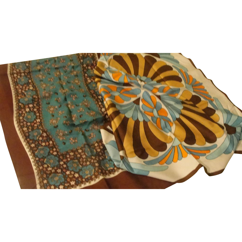 Brown and Turquoise Pair of Scarfs - Free shipping - b170