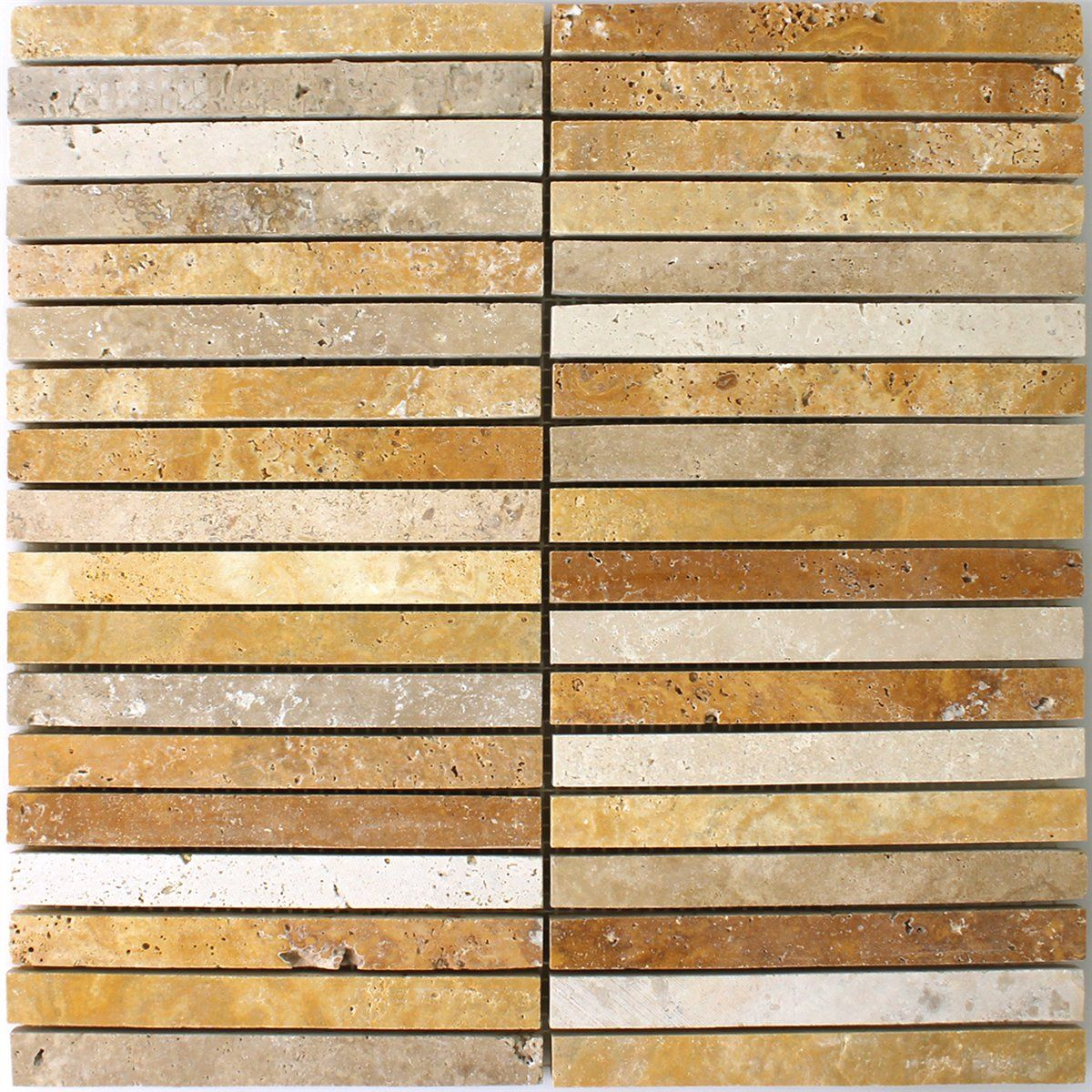 Travertin Mosaik Braun Beige Rot 15x151x10mm