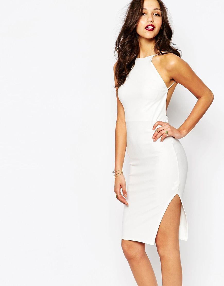 739f445104 Boohoo White Crepe Bodycon Midi Dress