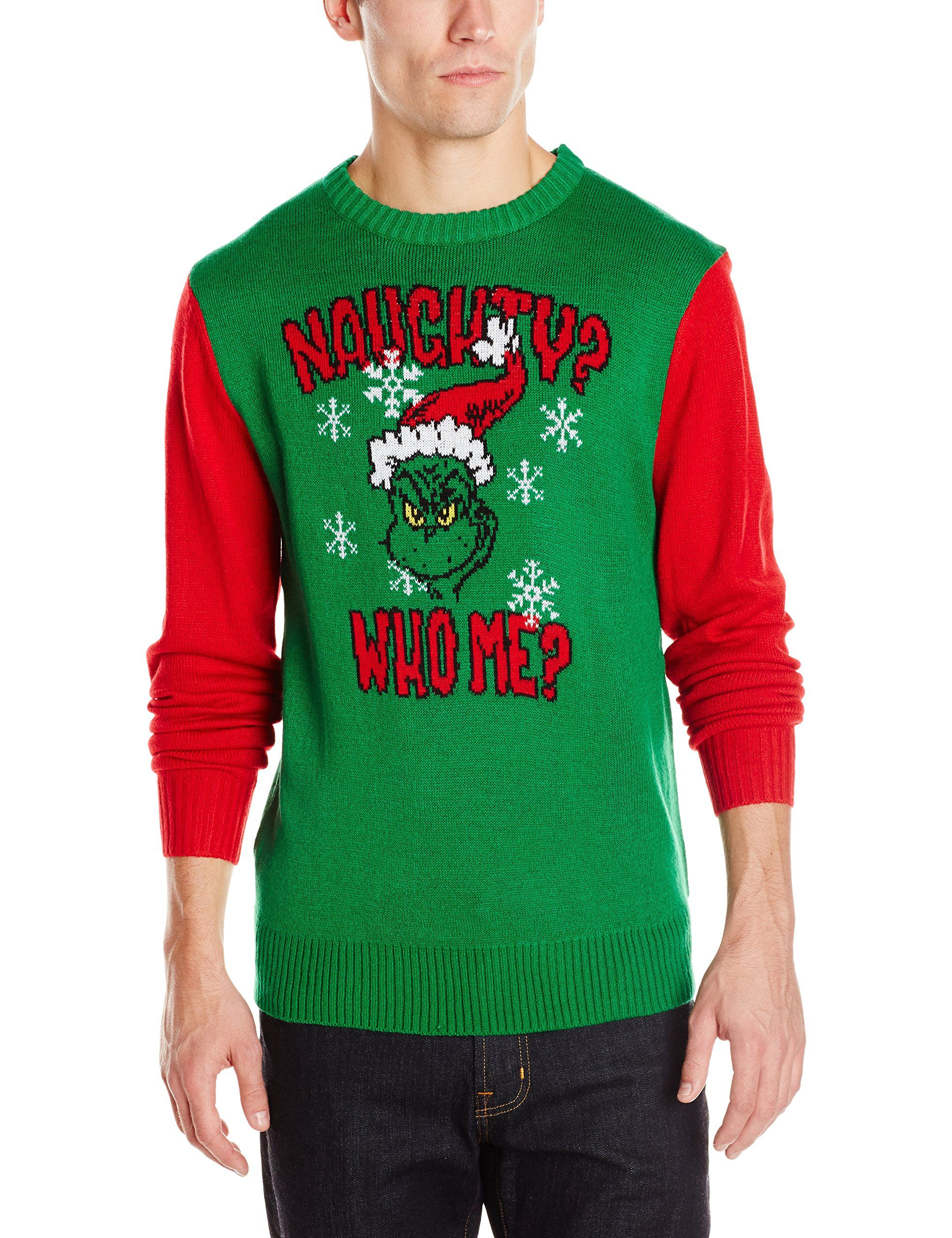 Dr. Seuss Men's Dr. Suess Whos Naughty Sweater, Green/Red, XX ...