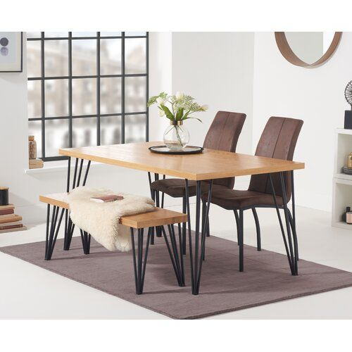 Hinnenkamp Dining Set With 2 Chairs And One Bench Brayden Studio
