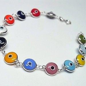 70f9a8bb2383 Pulsera de plata de primera ley con ojos turcos de colores tamaño pequeño