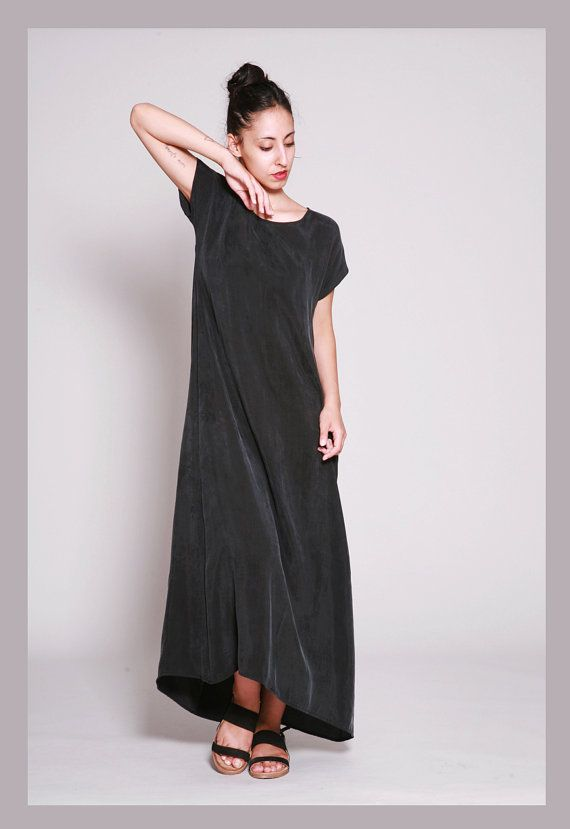 Black Maxi Dress Boho Loose Fitting Dress Cupro Long Summer Dress Short Sleeve Maxi Dress Womens Dresses By Dragonflyhm Long Summer Dresses