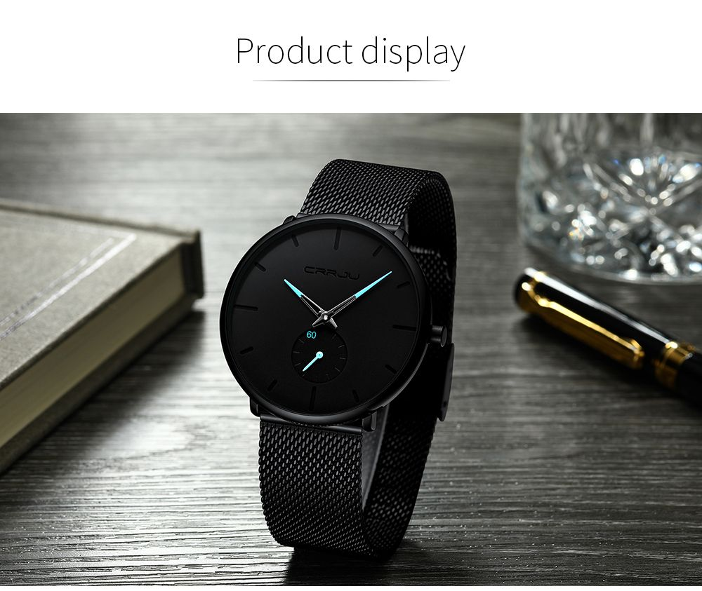 b3224e3c80f Men s Watches - Crrju Mens Ultra Thin Black Stainless Steel Water Proof  Watch was sold for R238.00 on 29 Mar at 14 01 by Bargaingems4u in  Johannesburg ...