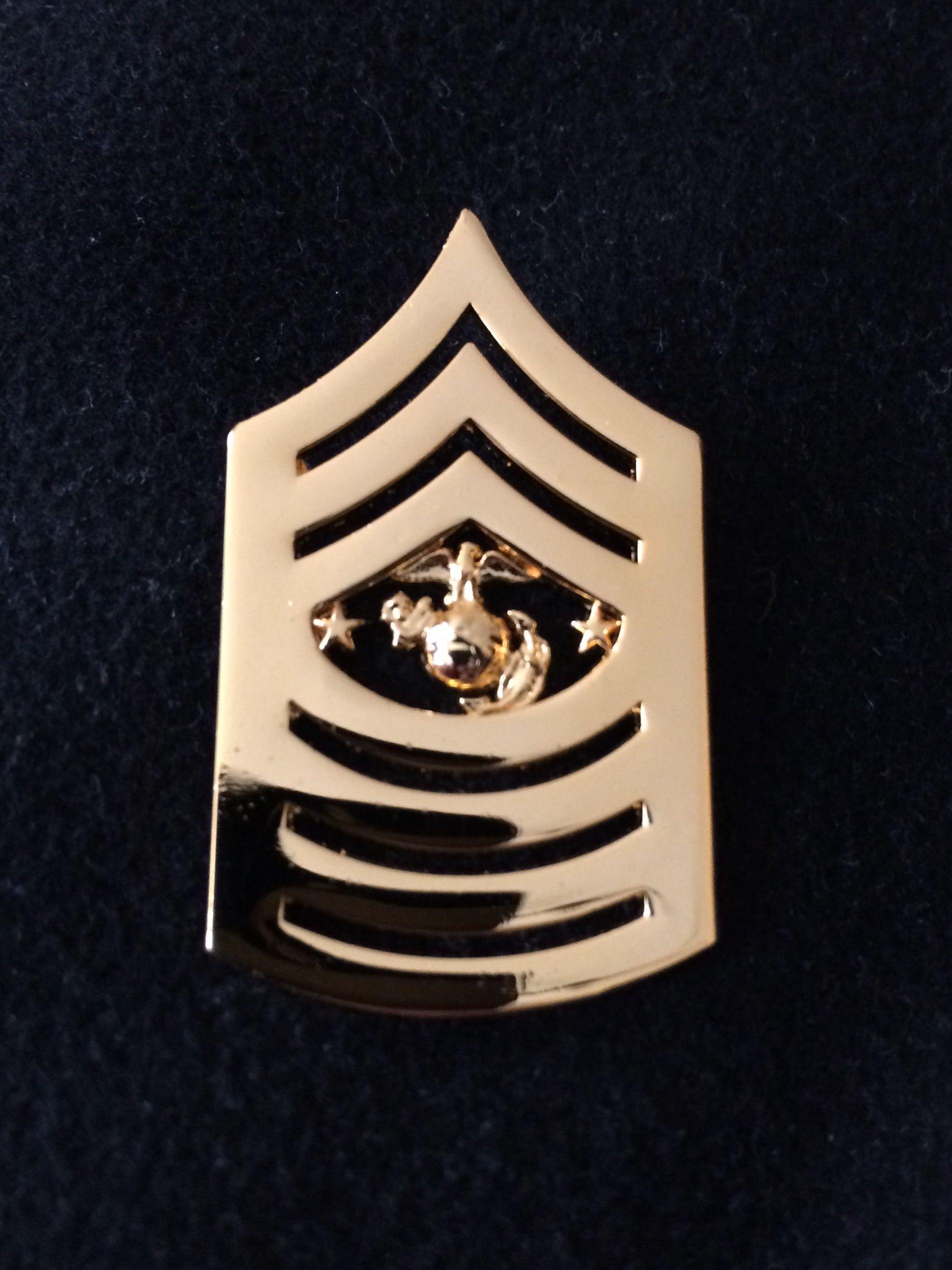 Made in USA NEW USMC Marine Corps Chevron Black Metal SGT Sergeant
