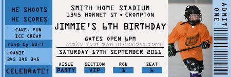 Make Your Own Ticket Birthday Invitations Paper Gallery Hockey