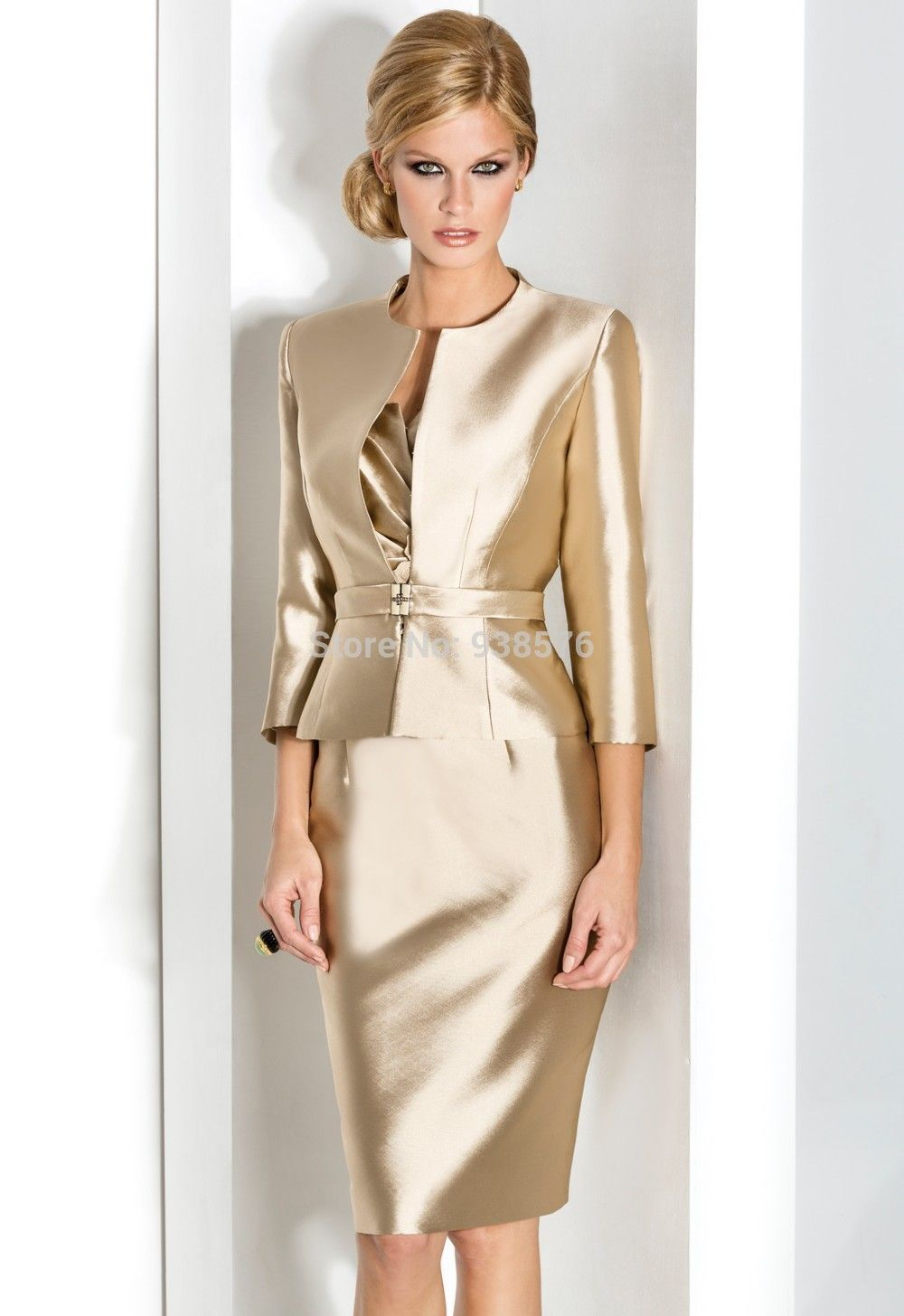 Gold mother of the bride dress with jacket yes Mother of the bride ...