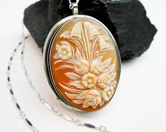 1890s floral 40mm shell cameo pendant necklace 14k trim silver shell cameo pendant necklace 14k trim silver bezel 18 aloadofball Choice Image