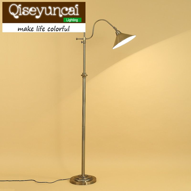 Qiseyuncai American Country Living Room Press Type Floor Lamp And Table Lamp Study Room Mahjong Fishing Floor Lamp Lamp Floor Lamp Lamp Shade