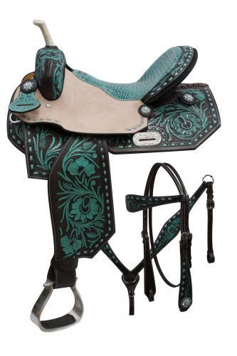 16 Double T Barrel Style Saddle Set With Teal Painted Floral