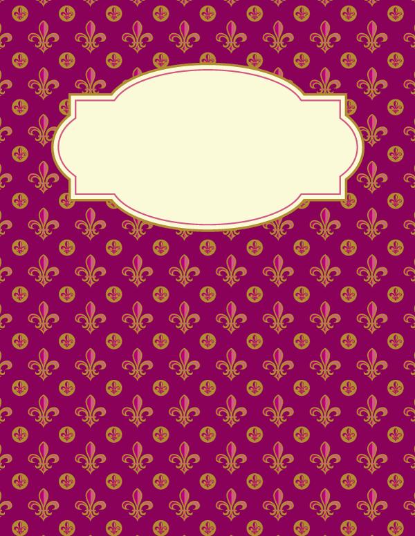 Free Printable Fleur De Lis Binder Cover Template Download The In JPG Or PDF