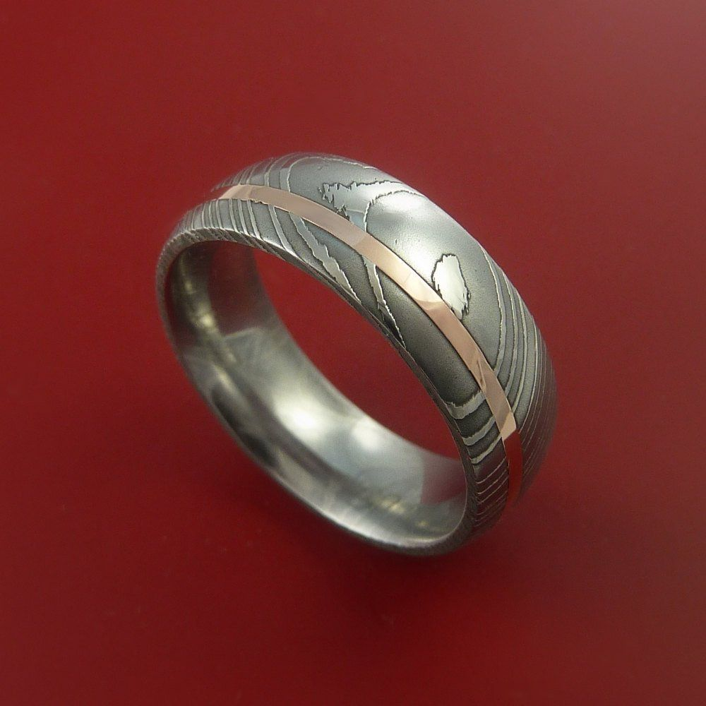 Damascus Steel 14k Rose Gold Ring Wedding Band Custom Made By Stonebrook Jewelry: Steunk Grooms Wedding Band At Reisefeber.org