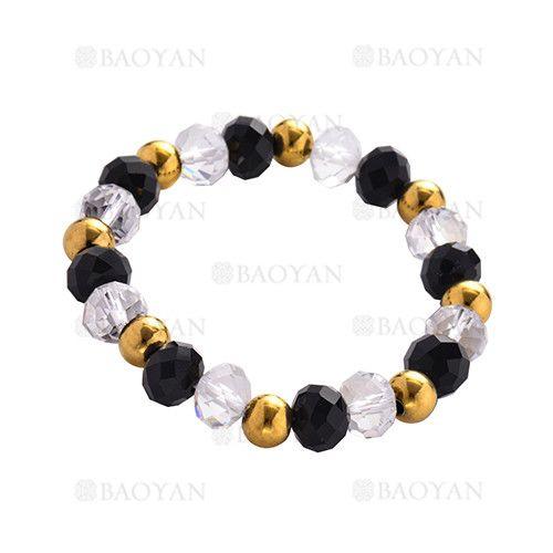 4fecadb5c356 pulsera de cristal negro y blanco con bola dorado acero -SSBTG504352 ...