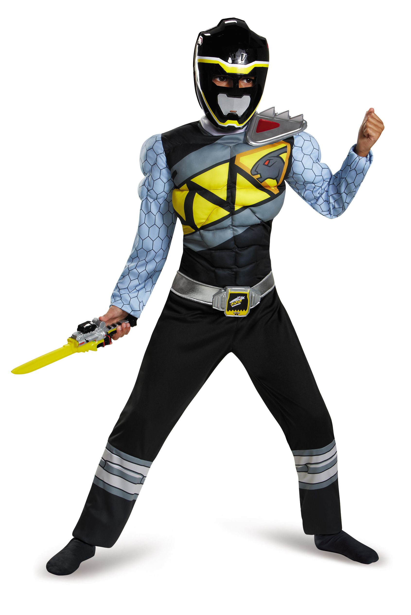 Black Ranger Dino Charge Boys Classic Muscle Costume Product includes: Jumpsuit with muscle torso and arms, attached belt with detachable belt buckle, detachable shoulder piece, and character mask. #PowerRangers #DinoCharge