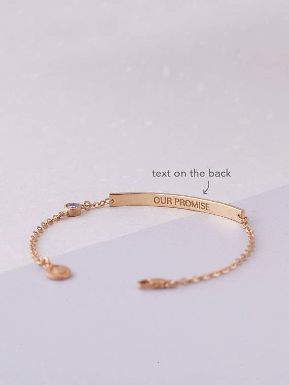 Rose Gold Coordinate Bracelet Long Distance Gift Location Bar With Coordinates Longitude And Laude