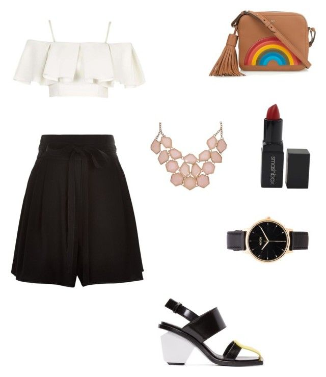 """""""Summer vibes in white and black"""" by mahaberii on Polyvore featuring Topshop, Marc Jacobs, Marni, Anya Hindmarch, Smashbox and Nixon"""