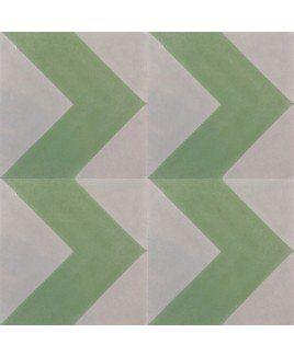 Chevron Green Encaustic Cement Tile