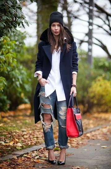 destroyed boyfriend jeans worn with an oversized white button up shirt and  red tote 3649a87e662
