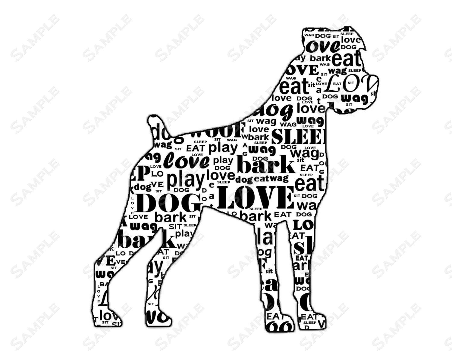 Boxer Dog Silhouette Word Art Print 8 X 10 Calligram By