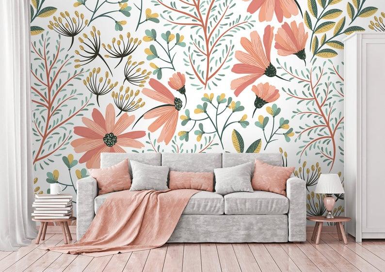 Pink Soft Flowers Wallpaper Self Adhesive Wallpaper Wall Etsy Papel De Parede Removivel Papel De Parede Branco Papel De Parede Classico