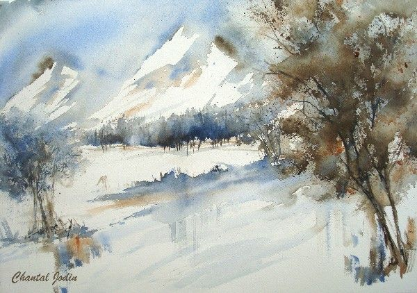 By chantal jodin watercolor artiste chantal jodin in 2019 peinture aquarelle aquarelle - Paysage montagne dessin ...