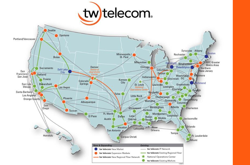 Tw Telecom Expands Metro And Regional Fiber Network Into New - Us fiber map