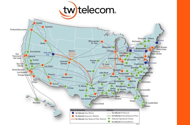 Tw Telecom Expands Metro And Regional Fiber Network Into New - Us media market map