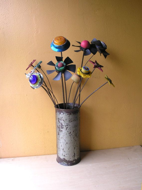 Recycled garden art, flower stake, vase filler, Upcycled flower, flower display, computer fan, junk art, table centerpiece, entryway decor