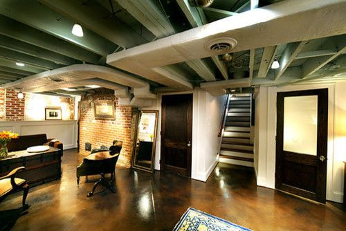 Beautiful Industrial Finished Basement