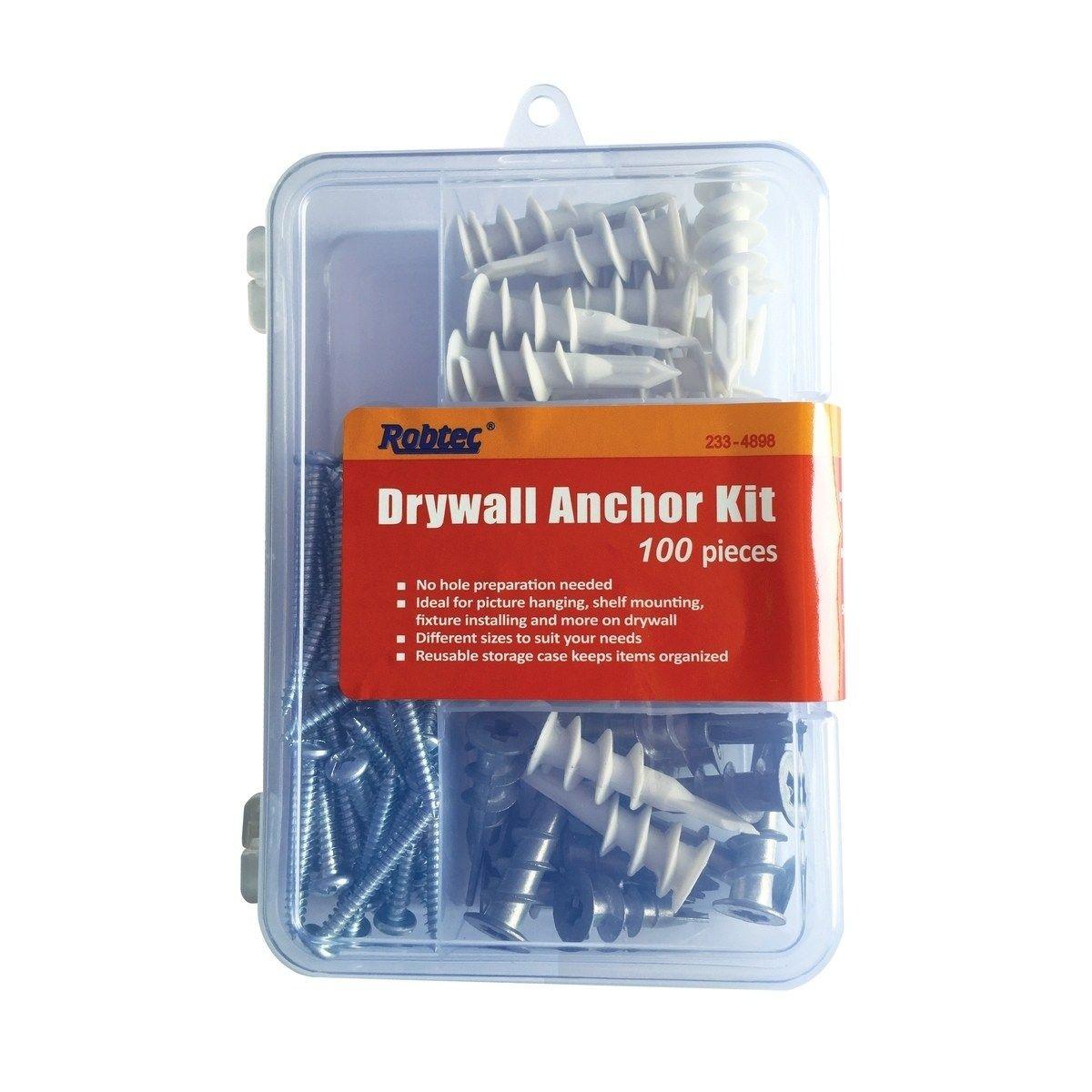 Robtec Drywall Anchor Assortment Kit 100 Pack Grey Drywall Anchor Drywall Pvc Storage