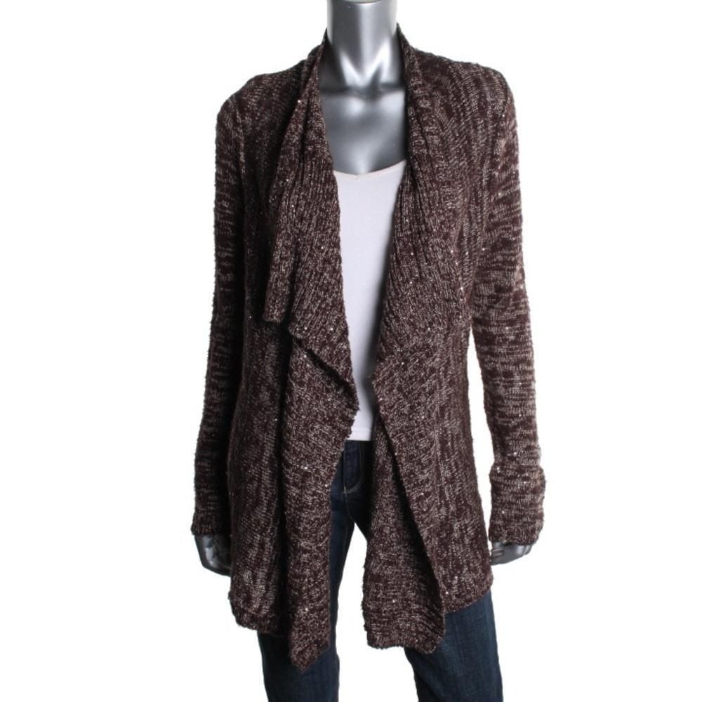 INC 7759 NEW Womens Brown Sequined Long Sleeves Cardigan Sweater ...