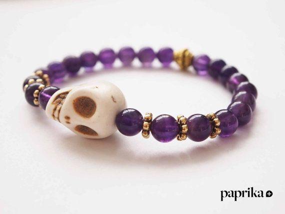 Skull beads mala bracelet by ThePaprikaShop on Etsy