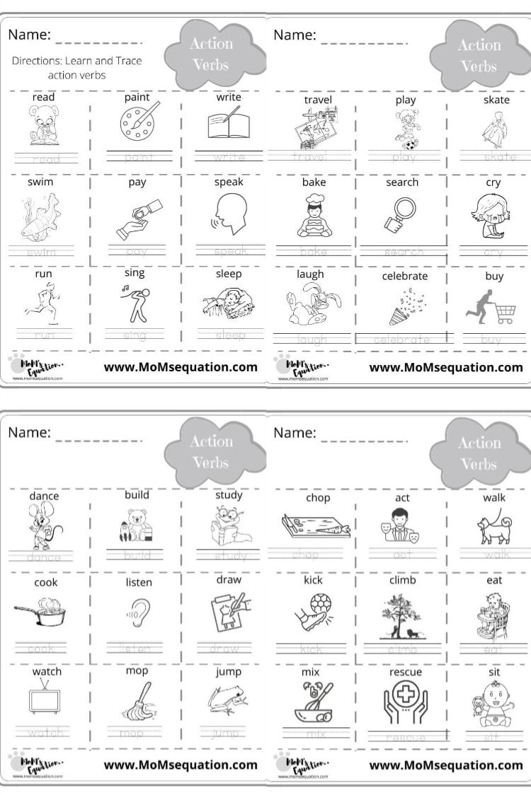 36 Action Verbs With Pictures Free Worksheets For Kindergarten 1 2 Grades In 2020 Action Verbs Parts Of Speech Worksheets Free Kindergarten Worksheets