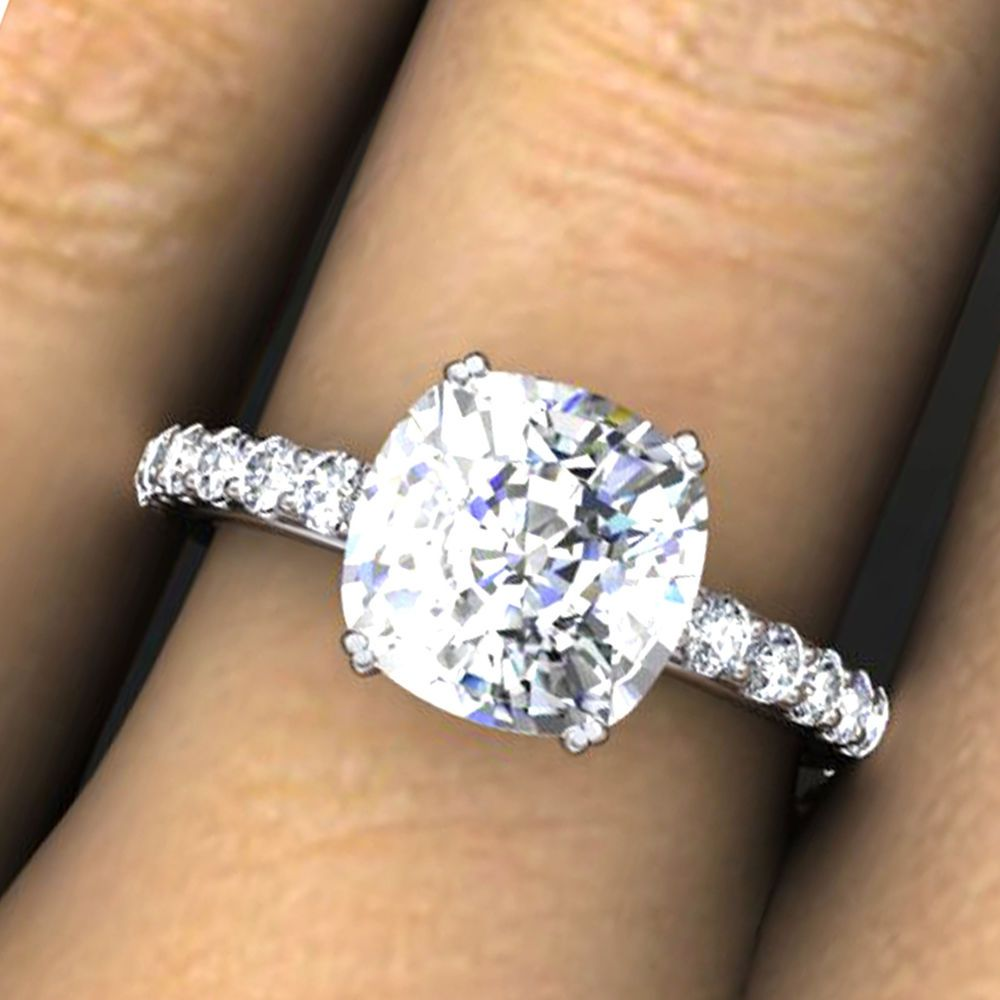 3 0 Ct Cushion Cut Man Made Diamond Engagement Ring Solid 14k White Gold