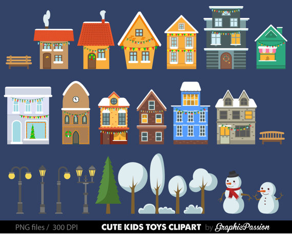 Christmas Houses Clip Art Set houses clipart, cute