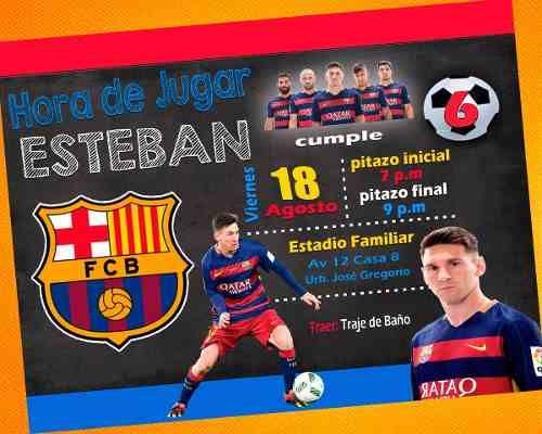 Invitación De Cumpleaños Messi Barcelona Photoshop Bs 300