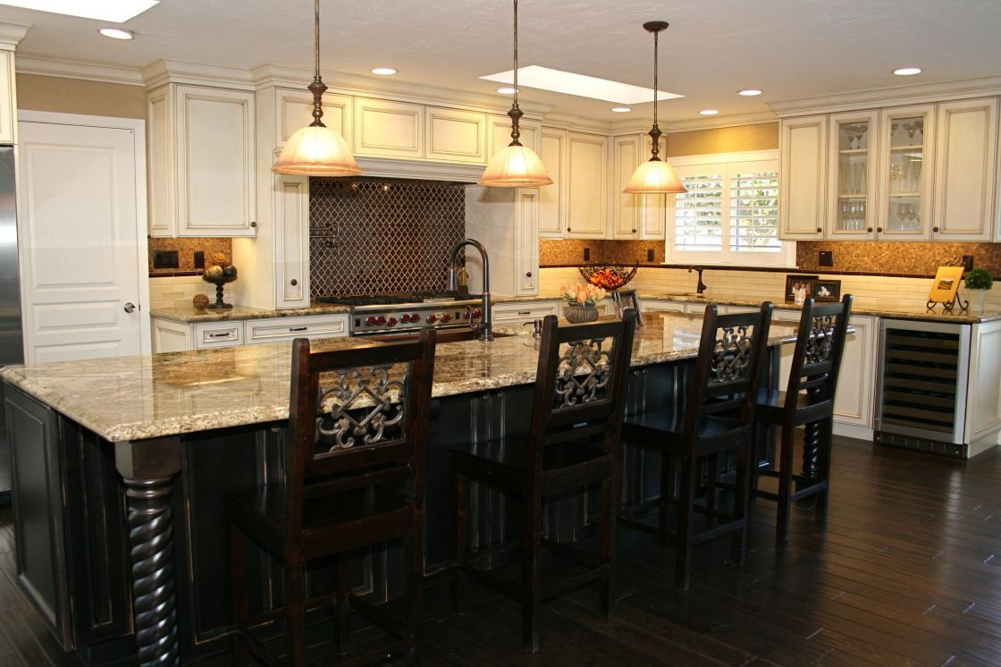 Country French Kitchen Interior Ideas With Antique White Shaker Maple Kitchen Cabinet And Tr Espresso Kitchen Cabinets Wooden Kitchen Cabinets Kitchen Interior