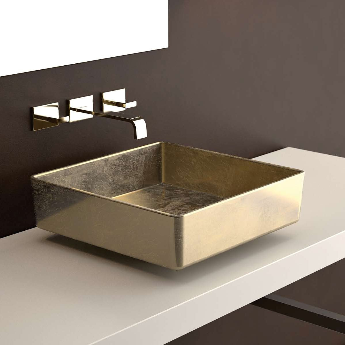 """FOUR Lux FOURFO Square Vessel Sink in Gold Leaf 16.5"""" x 16.5"""""""