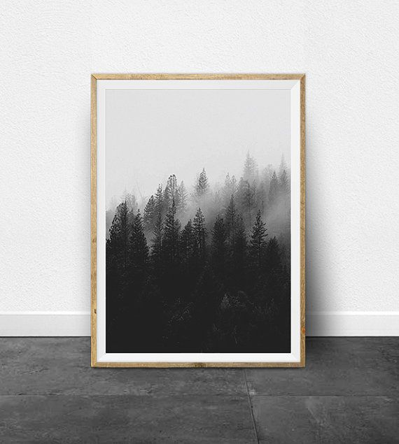 Black and white prints black and white photography printable art set ombre effect circle print minimalist art forest print trees