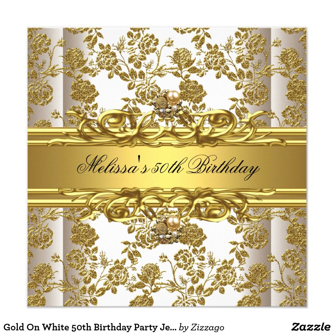 Gold On White 50th Birthday Party Jewels Floral Card Invitation