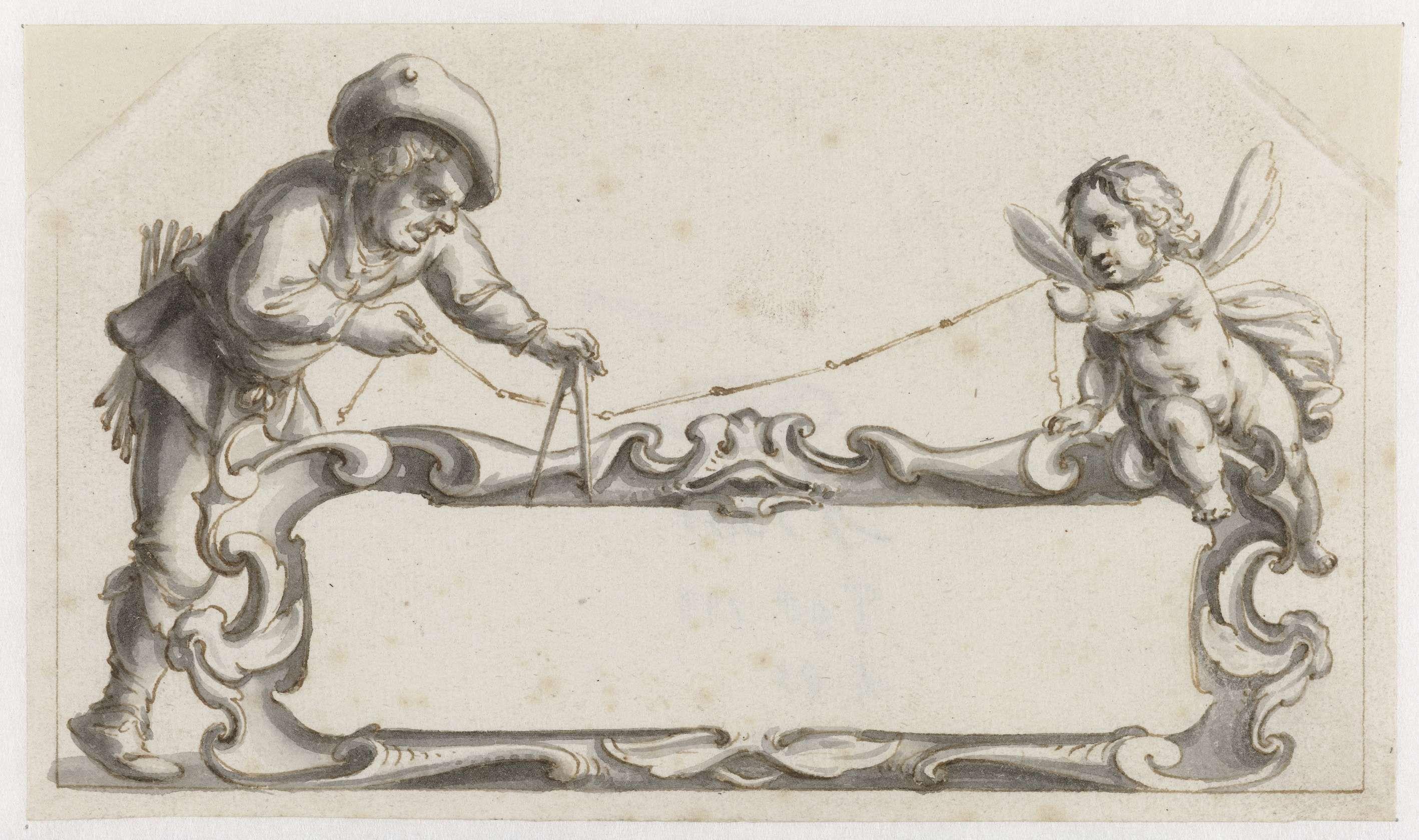 Pieter Jansz | Cartouche omgeven door een man en een putto, Pieter Jansz, 1657 - 1662 | Cartouche omgeven door een man en een putto met een meetlint en een passer. Mogelijk ontwerp voor een prent.