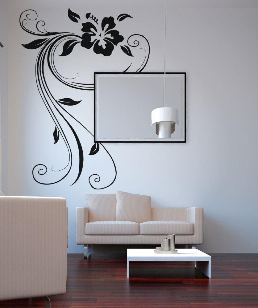 vinyl wall decal sticker hawaiian flower swirl os aa373 on wall decals id=12566
