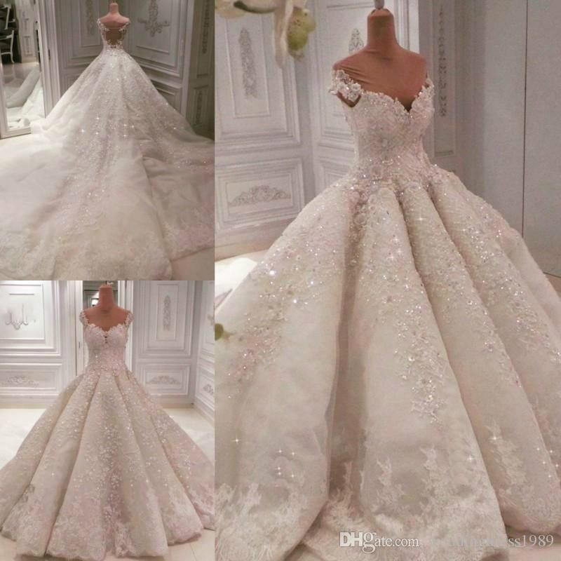 Discount Elegant Beads Sequins Off Shoulder Wedding Dresses Lace Saudi Arabia Dubai Bride Country Style Plus Size Vestido De Novia Bridal Gown Wedding Dress Web Ball Gowns Wedding Wedding Dresses Lace
