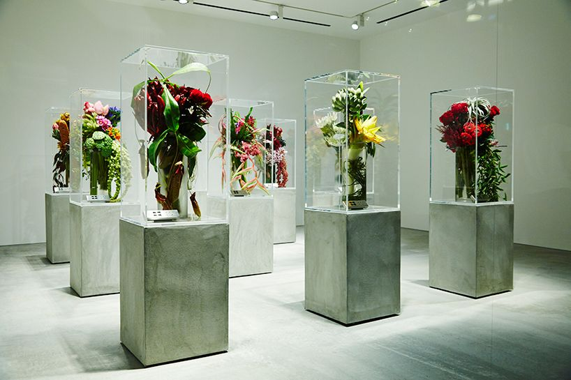 azuma makoto displays the death and life of floral sculptures in tokyo