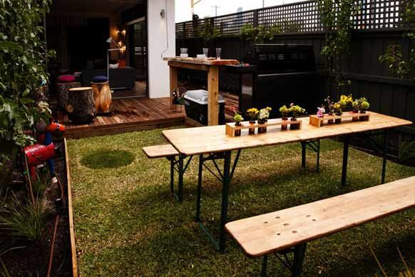 Sophie and Dale from The Block's picnic style outdoor area