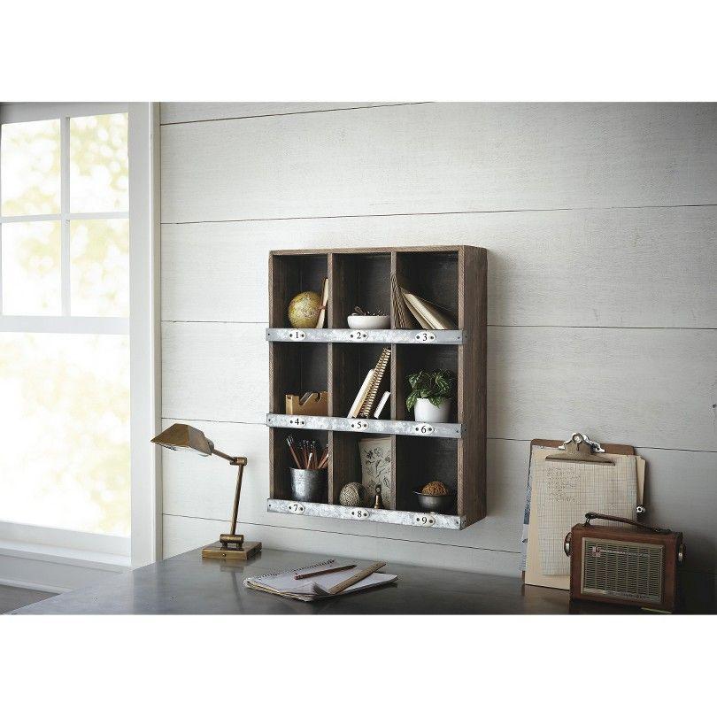 24.000H x 19.000W x 6.000D - Wooden Wall Shelf 9-Slot (cheap, Target ...